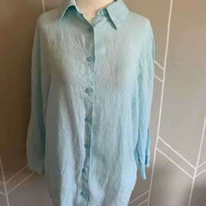LL Bean Button Down Shirt Turquoise 100% LINEN